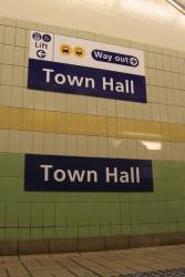 Dual station nameboards at Town Hall station