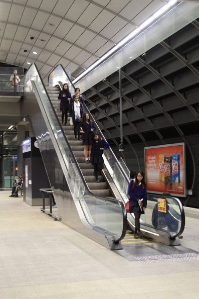Escalator down to platform level at Macquarie University station