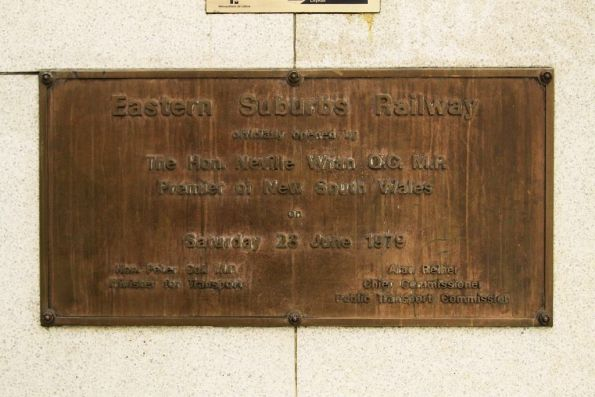 Plaque marking the opening of the Eastern Suburbs Railway at Martin Place station