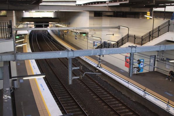 Looking down on the lower level platforms at Wolli Creek