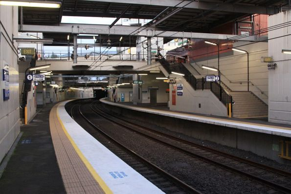 Lower level platforms 1 and 2 at Wolli Creek looking up the line