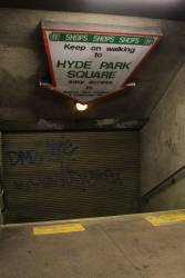 Closed entrance to 'Hyde Park Square' at Museum station