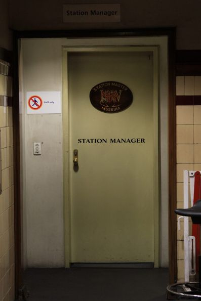 Fancy NSWGR signage on the stationmaster's office at Museum station