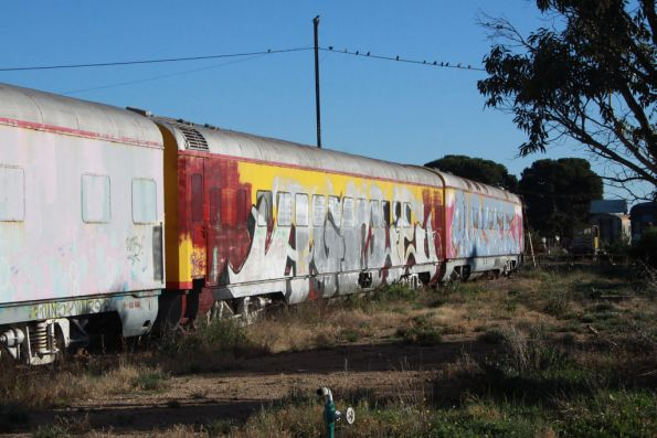 Murraylander carriages stored and vandalised around the Tailem Bend turntable