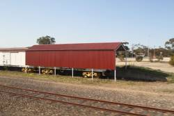 Shed erected over one of the 'preserved' wagons at Tailem Bend