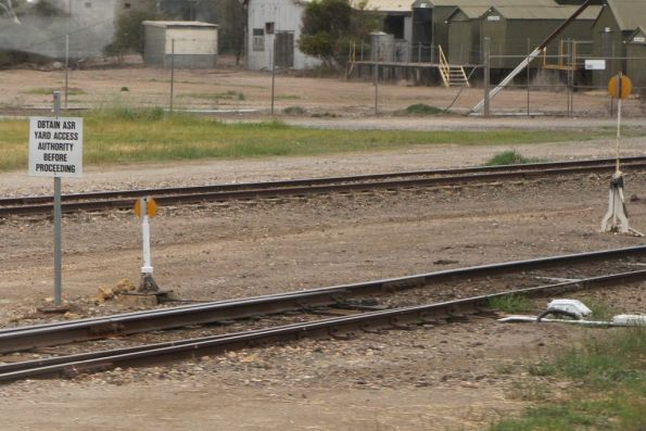 'Obtain ASR yard access authority before proceeding' sign in the yard at Tailem Bend