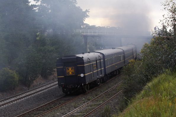 PCP van trailing the Steamrail train headed back to Melbourne
