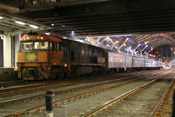 NR121 with refurbished Overland set at Southern Cross