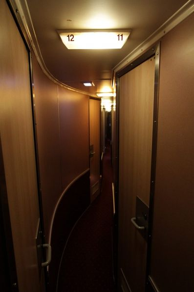 Winding corridor of a LAR class roomette carriage