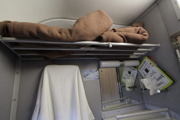 Luggage rack above the washbasin of a roomette carriage