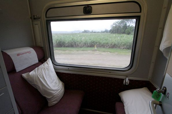 Inside a compartment of a LAR class roomette carriage