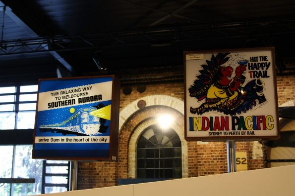 Southern Aurora and Indian Pacific advertising signboards
