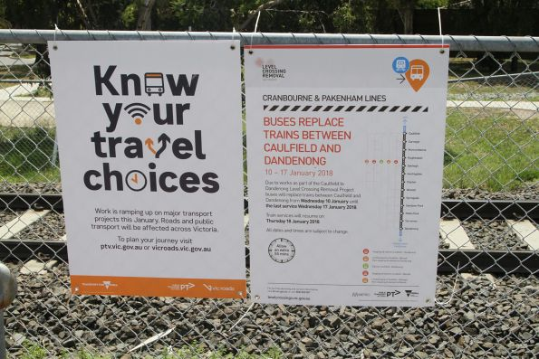 'Buses replace trains' notice at Merinda Park