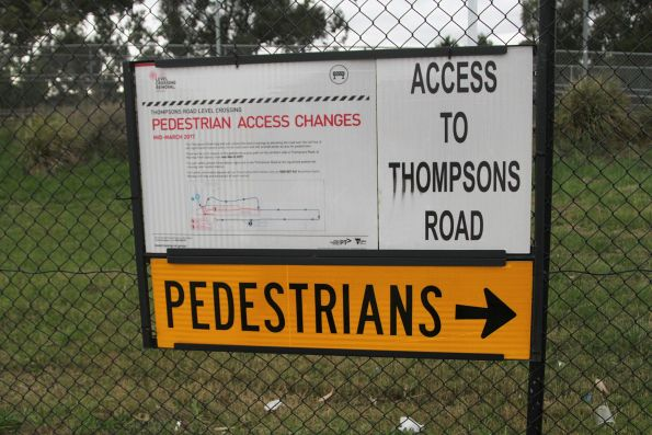 'Access to Thompsons Road' sign at Merinda Park station