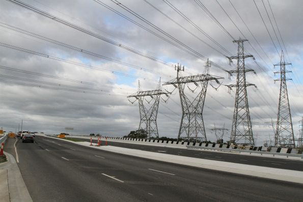 High voltage transmission lines pass over the western approach