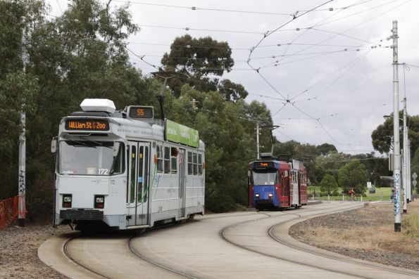 Z3.172 waits for out tram to shunt through the crossover at Royal Park