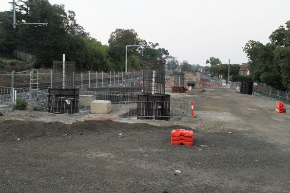 Steel reinforcing cages for bridge piers at the up end