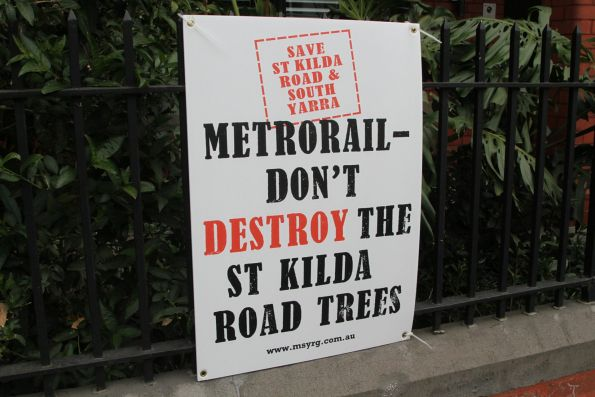 Posters along Park Street opposing the metro rail tunnel, created by the 'Melbourne South Yarra Residents Group'