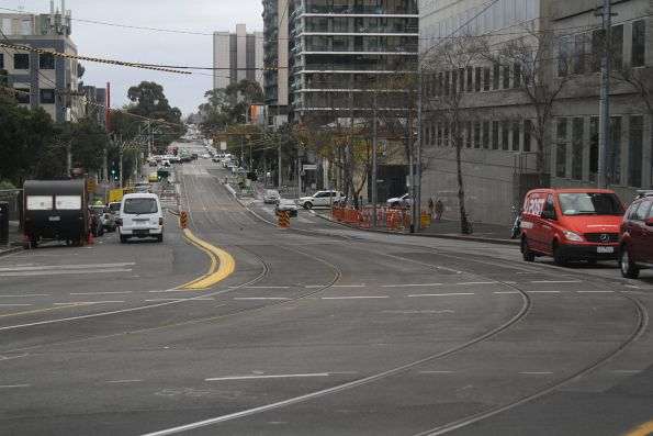 Relaid tracks on Park Street west of St Kilda Road