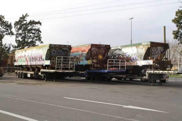 Trio of VHEF briquette wagons off rail at North Dynon and waiting to be trucked to the scrap yard