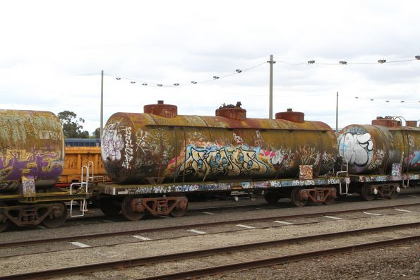 Unidentifiable tank wagon being pulled out of the sidings