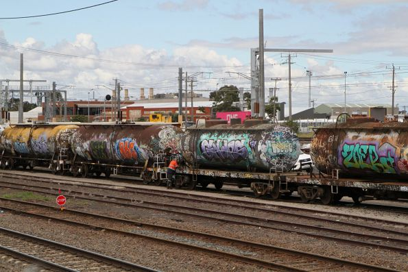Preparing the rake of tank wagons for their final journey to North Dynon for scrapping