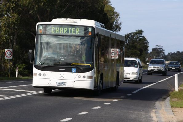 Latrobe Valley Bus Lines 3866AO on the Princes Highway at Lakes Entrance