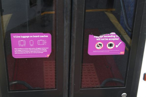 Luggage restriction notices onboard a V/Line bus