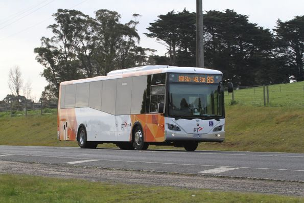Warragul Bus Lines 2097AO on route 85 at Lardners Track outside Warragul