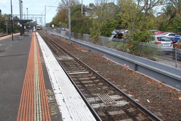 TPWS overspeed sensor system (OSS) equipment on the approach to the tram square at Glenhuntly station