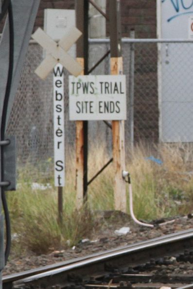 'TPWS Trial Site Ends' notice at the down end of Dandenong station