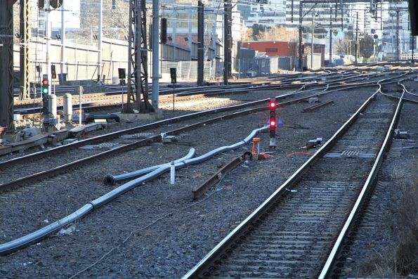 TPWS fitted to signals 573 and 583 at the down end of Flinders Street platform 5 and 6