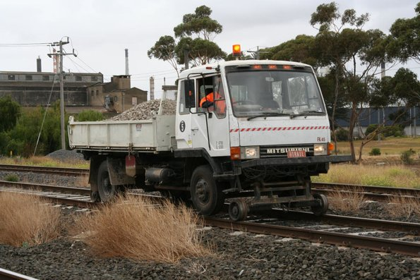 Hi-rail truck with the rego plate 'HIRAIL'