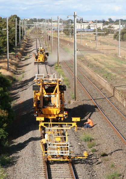 Ballast tamper and regulator at work on the SG line at Paisley