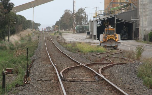 Ballast regulator stabled in the cement works siding at Waurn Ponds