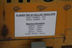 Machine information plaque on Plasser PBR201 ballast regulator
