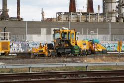Laing O'Rourke operated Knox Kershaw KBR925 ballast regulator REG011 at the Metro Infrastructure Siding at Paisley