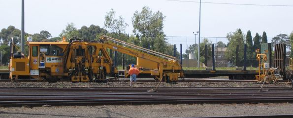 Works Infrastructure operated Pandrol Jackson 6700s tamper, coded RTM3005, at work at North Geelong