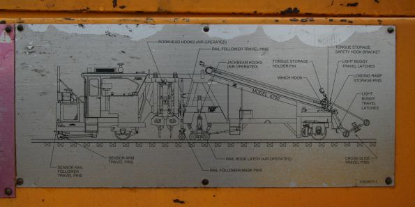 Plate showing various lifting and transportation locks on a Pandrol Jackson 6700 ballast tamper