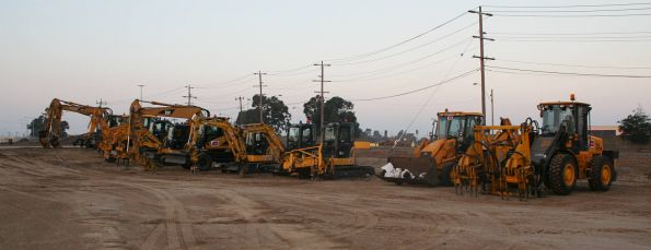 Lineup of hi-rail excavators at North Shore