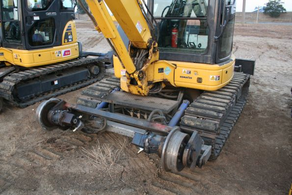 Hi-rail wheels on an excavator