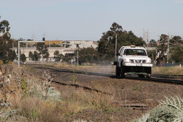 Nissan Patrol hi-rail spraying weeds along the ARTC tracks at McIntyre Loop