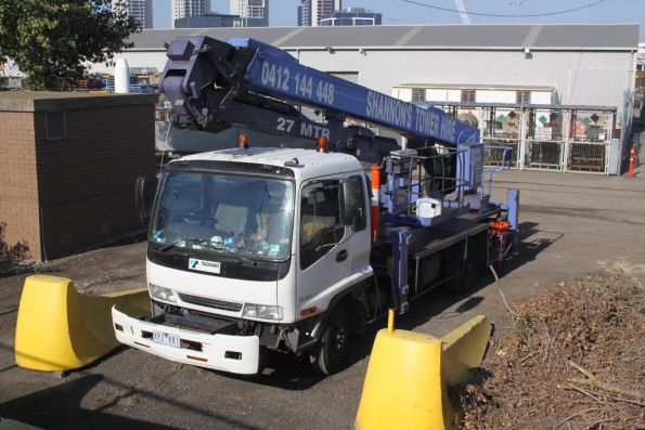 Hi-rail cherry picker truck