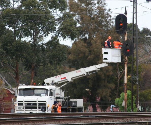 Signal fitters at work near Newport, RFW truck fitted with a cherry picker on the back
