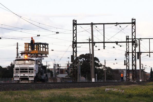 RFW all-wheel-drive hi-rail at work renewing the contact wire between West Footscray and Tottenham