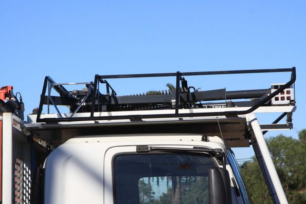 Austbreck pantograph on the top of the modern hi-rail truck