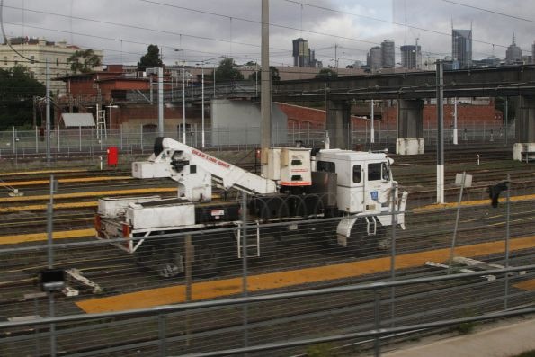 Hi-rail bucket lift truck stabled in the Melbourne Yard stabling sidings