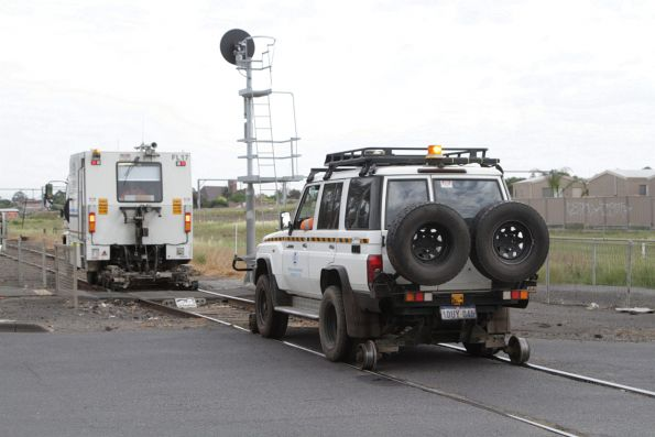 Hi-rail 4WD following behind the detection truck