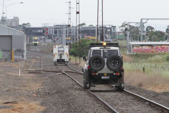 Rail flaw detection truck continues inspecting the track between Brooklyn and Sunshine