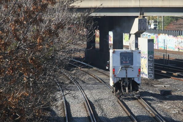 Speno ultrasonic rail flaw detector at work on the standard gauge at West Footscray